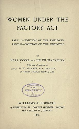 Women under the factory act.
