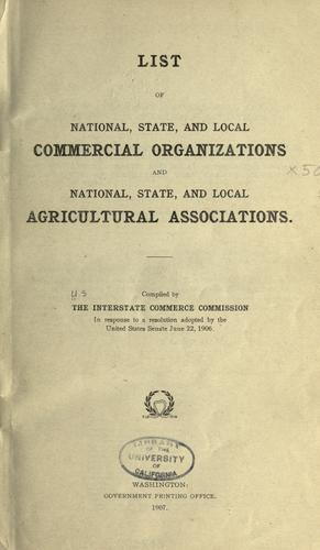 Download List of national, state, and local commercial organizations and national, state, and local agricultural associations.