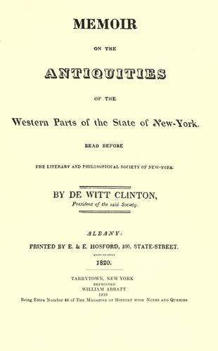 Download Memoir on the antiquities of the western parts of the state of New-York.