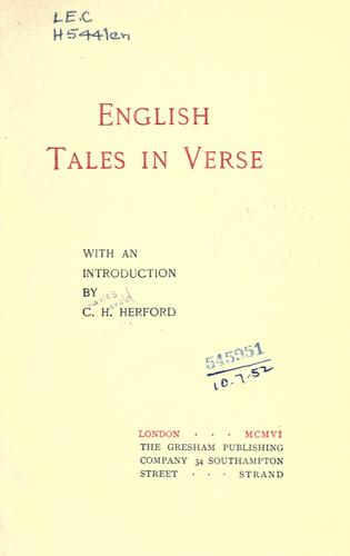 Download English tales in verse.
