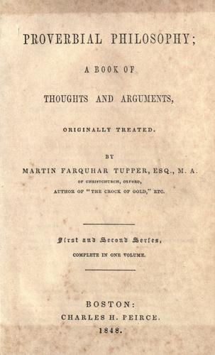 Proverbial philosophy by Tupper, Martin Farquhar