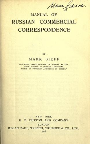 Download Manual of Russian commercial correspondence.