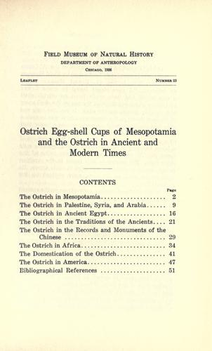 Ostrich egg-shell cups of Mesopotamia and the ostrich in ancient and modern times