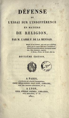 Défense de l'Essai sur l'indifférence en matière de religion
