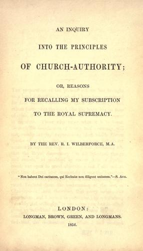 An inquiry into the principles of church-authority
