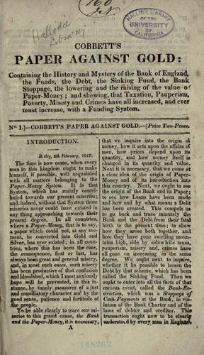 Download Cobbett's Paper against gold