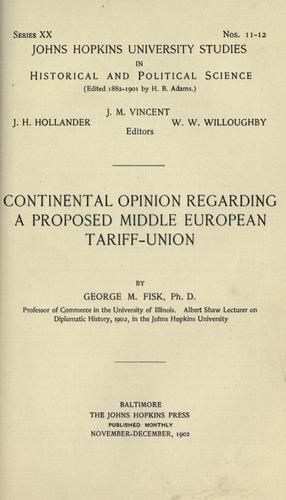 Continental opinion regarding a proposed middle European tariff-union
