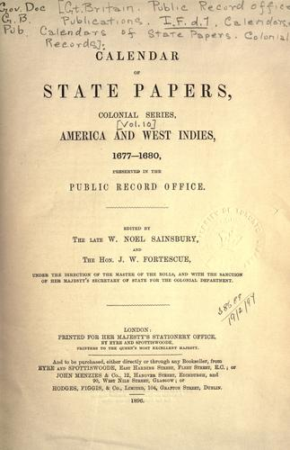 Download Colonial Records.  Calendar of State Papers, Colonial