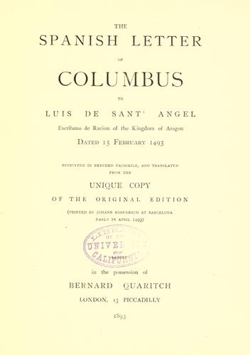 The Spanish letter of Columbus to Luis de Sant' Angel by Christopher Columbus