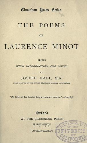 The poems of Laurence Minot