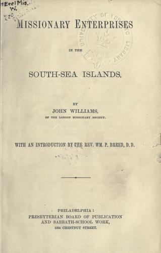 Download Missionary enterprises in the South-Sea Islands