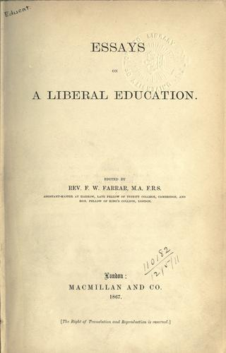 Essays on a liberal education.
