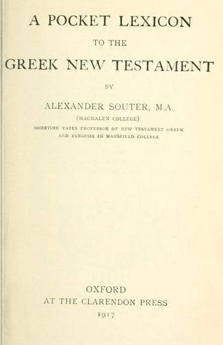 Download A pocket lexicon to the Greek New Testament.