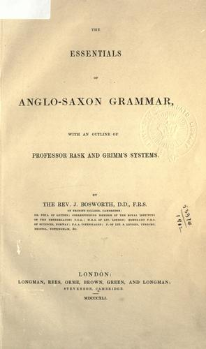 The essentials of Anglo-Saxon grammar