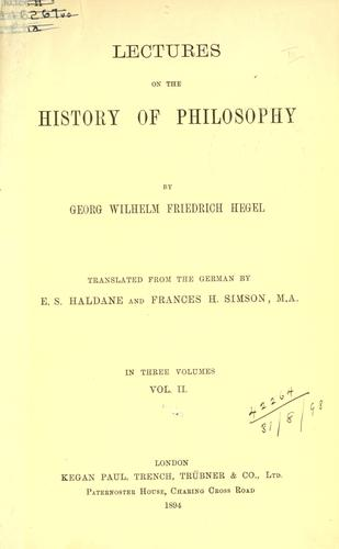 Download Lectures on the history of philosophy.