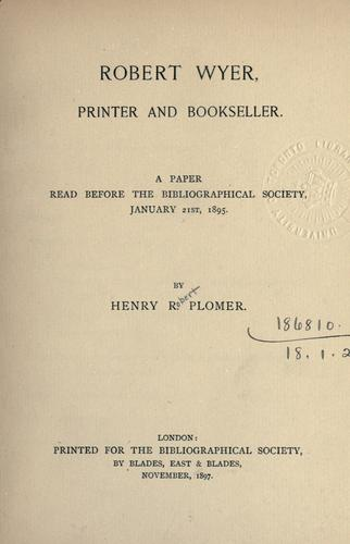 Download Robert Wyer, printer and bookseller.