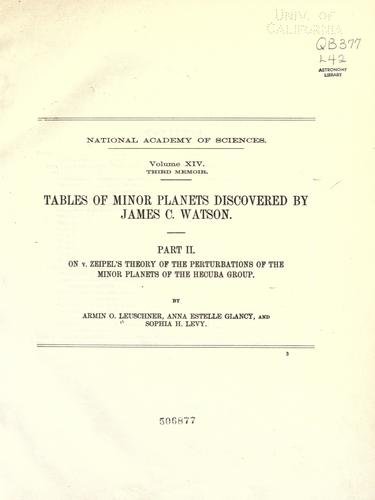 Tables of minor planets discovered by James C. Watson