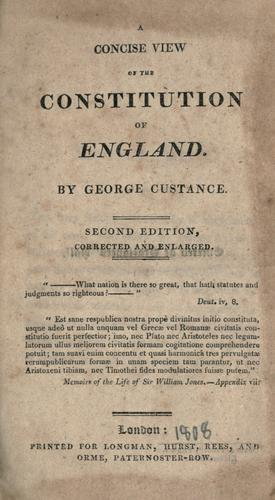 Download A concise view of the constitution of England