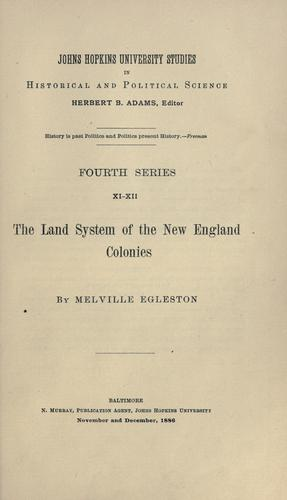Download The land system of the New England colonies