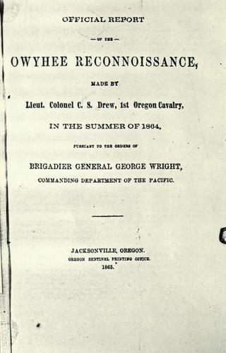 Official report of the Owyhee reconnoissance