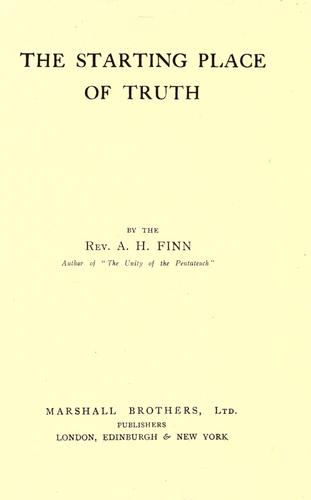 The starting place of truth (Open Library)