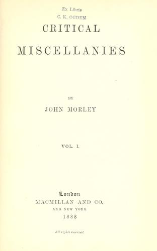 Download Critical miscellanies