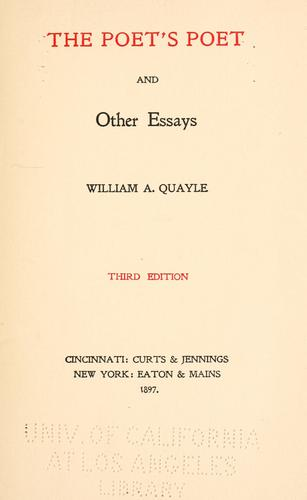 The poet's poet, and other essays.
