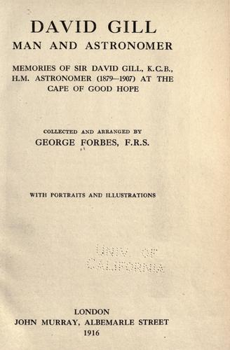 Download David Gill, man and astronomer