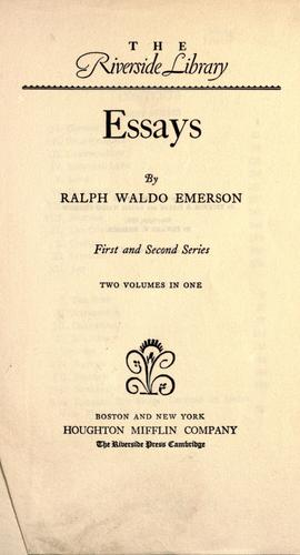 Download Essays. First and second series.