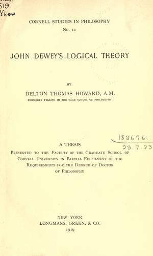 Download John Dewey's logical theory.