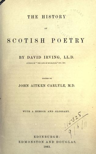 Download The history of Scotish poetry.