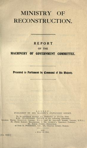 Download Report of the Machinery of government committee …