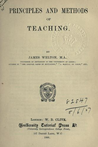 Principles and methods of teaching.