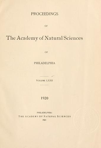 Download Proceedings of the Academy of Natural Sciences of Philadelphia, Volume 72