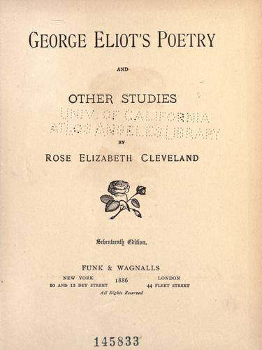 Download George Eliot's poetry, and other studies