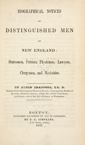 Download Biographical notices of distinguished men in New England