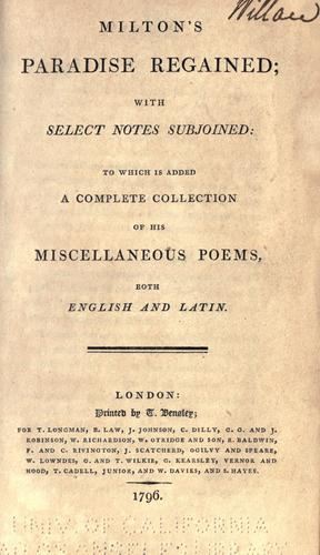 Download Milton's Paradise regained