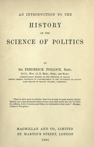 An introduction to the history of the science of politics.