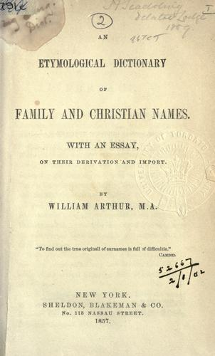 Download An etymological dictionary of family and Christian names.