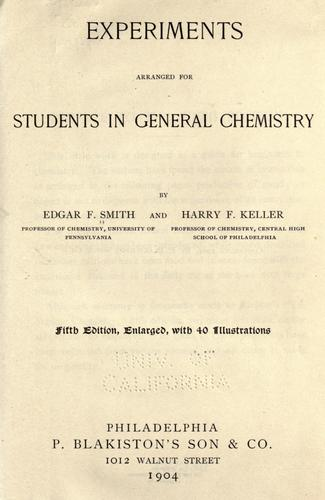 Download Experiments arranged for students in general chemistry