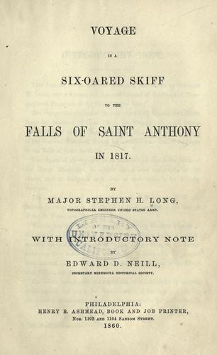 Download Voyage in a six-oared skiff to the falls of Saint Anthony in 1817