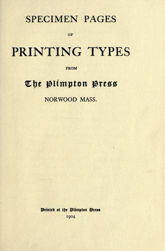 Download Specimen pages of printing types from the Plimpton Press, Norwood, Mass.
