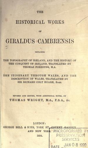 Download The historical works of Giraldus Cambrensis
