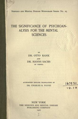 Download The significance of psychoanalysis for the mental sciences