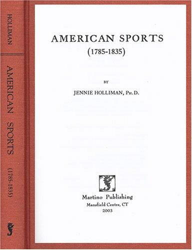 Download American sports, 1785-1835