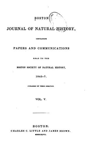 Boston Journal of Natural History, Volume 5