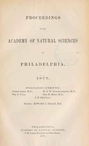 Proceedings of the Academy of Natural Sciences of Philadelphia, Volume 29
