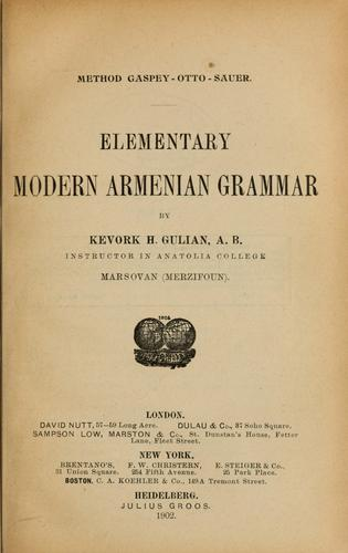 Download Elementary modern Armenian grammar