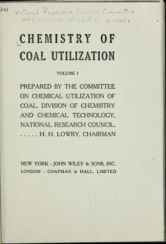Chemistry of coal utilization.