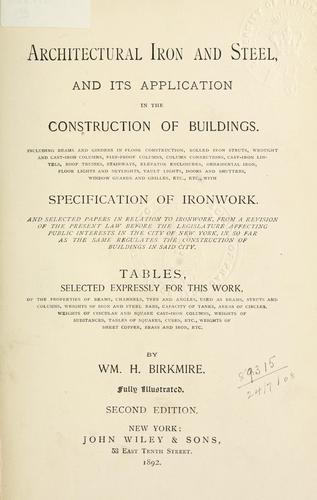 Download Architectural iron and steel